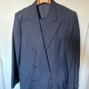 Hickey freeman navy windowpane suit